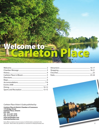 Table of contents page for tourism guide