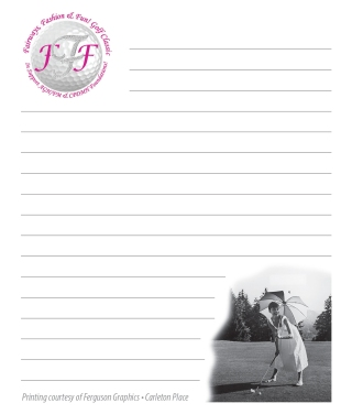 Note pad for a golf tournament swag bag