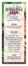 Info rack card for vendor's farmers' market season